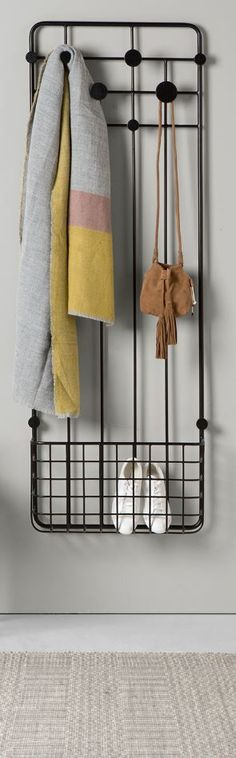 Bema coat rack, MADE.COM No more coats, scarves and shoes cluttering the entrance. You can hang them on the assorted coat hooks, and shoes can go into the bottom basket. Hallway Inspiration, Interior Inspiration, Hallway Ideas, Coat Storage, Entryway Storage, Small Hallways, Flat Ideas, Hallway Decorating, Mudroom
