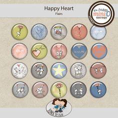 SoMa Design: Happy Heart - MiniO - Flairs Happy Heart, Kiss Me, Color Mixing, Digital Scrapbooking, Kit, Design, Kiss
