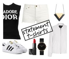 """""""Thi shirt..."""" by margaux-blouin ❤ liked on Polyvore featuring River Island, Christian Dior, Yves Saint Laurent, adidas Originals, CLUSE and NARS Cosmetics"""