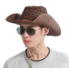 5f7e92b3948264 Coffee straw cowboy hat for men UV protection sun hats with strings