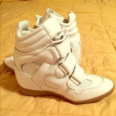 SNEAKER WEDGES!!  White sneaker wedges with tan rubber bottom. Worn once! Good condition, has one tiny flaw on inner front side that's not very noticeable. Comfy and cute!  Steve Madden Shoes Wedges