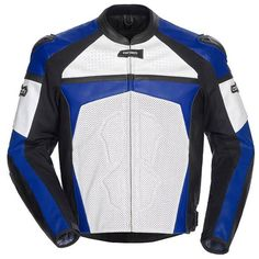 Cortech 'Adrenaline' Mens White/Blue Leather Jacket
