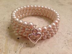 Pink Pearl Memory Wrap/Cuff/Coil Bracelet - Heart Charm-Handmade USA by PastNPresentsByAlana on Etsy
