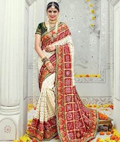 Buy Beige Banarasi Silk Wedding Saree 78204 with blouse online at lowest price from vast collection of sarees at Indianclothstore.com.