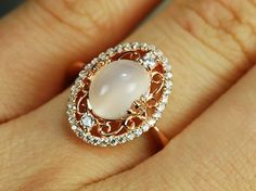 Custom Engagement Ring - 2 Carat Moon Stone Ring WIth Diamonds, 14K Rose Gold by Ashdone Jewelry | CustomMade.com