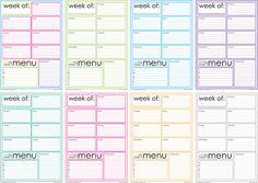 Weekly menu and printable DIY planner