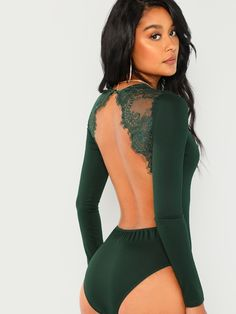 SHEIN offers Lace Contrast Backless Skinny Bodysuit & more to fit your fashionable needs. V Neck Bodysuit, Long Sleeve Bodysuit, Lace Bodysuit, Green Bodysuit, Backless Bodysuit, Body Dentelle, Pullover Shirt, Polyester Spandex Fabric, Mode Boho