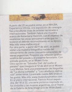 """El diario Clarín de Argentina recomienda """"El tren se va""""."""