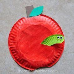 paper plate apple kids crafts -fall kid crafts crafts for ki. Autumn Crafts, Fall Crafts For Kids, Toddler Crafts, Spring Crafts, Craft Kids, September Kids Crafts, Paper Plate Crafts For Kids, Winter Craft, Bird Crafts