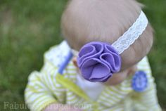 Best step by step picture tutorial on how to make baby headbands of satin and felt flowers. Learn some DIY for babies and save a few dollars a piece!