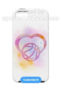Bright Splatter Basketball Heart iPhone 5 Cases by Sports Art Zoo