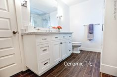 If you want something practically indestructible there is the ceramic tile option which we installed in our bathroom.  I'm really impressed with how much it looks like hardwood.