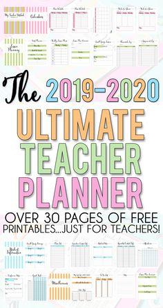 Teacher Planner For 2020 - 2021 - Free Printable! - Cute ...