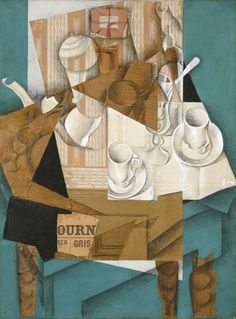 "Juan Gris's ""Breakfast"" Juan Gris was born in Gris favored the papier collé technique invented by Georges Braque and Pablo Picasso. In Breakfast, the artist combines abstract collage. Pablo Picasso, Georges Braque, Art Fauvisme, Still Life Artists, Sonia Delaunay, Still Life Drawing, Museum Of Modern Art, Art Lessons, New Art"