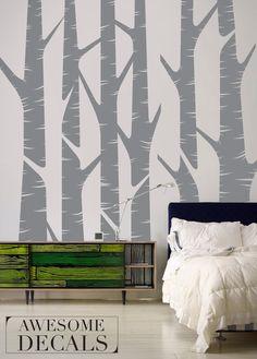 "Birch Tree Wall Decal - Wall Tree Decal - Tree Wall Sticker - Large - 95"" x 88"" - 011. $98.00, via Etsy."