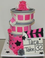 outdoor movie party cake