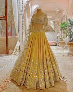 Light yellow and white color designer lehenga choli Party Wear Indian Dresses, Indian Bridal Outfits, Party Wear Lehenga, Indian Fashion Dresses, Dress Indian Style, Indian Designer Outfits, Indian Wear, Designer Dresses, Indian Attire