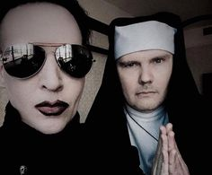 """Billy Corgan, dressed as a nun, and Marilyn Manson cover """"Girls Just Wanna Have Fun"""" -- watch Marilyn Manson, Nun Outfit, Valley Of Death, Billy Corgan, 90s Movies, Cool Magazine, Pierce The Veil, My Chemical Romance, Covergirl"""