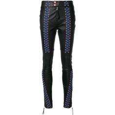 Frankie Morello laced leg skinny trousers ($799) ❤ liked on Polyvore featuring pants, black, skinny leather pants, skinny trousers, front lace up pants, lace up front leather pants and skinny pants