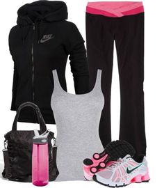 Black workout outfit with pink high lights. Nike track jacket, pink and white Nike sneakers, pink water bottle and pink and black yoga pants make a super cute and comfy gym outfit! Nike Workout Gear, Workout Attire, Workout Wear, Yoga Workouts, Workout Tanks, Nike Gear, Pink Workout, Workout Style, Workout Fitness