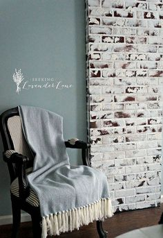 Give the look of a weathered fireplace to any room with this DIY inexpensive faux brick wall.