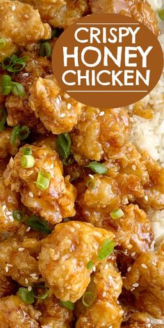 Honey Chicken has the crispiest, most delicious coating ever! Chunks of chicken dipped in seasoned flour & buttermilk, and then pan fried to crispy chicken perfection. Cover the crispy honey chicken in a sweet homemade honey sauce and serve over rice! Yummy Chicken Recipes, Meat Recipes, Healthy Dinner Recipes, Healthy Soup, Recipe Chicken, Chinese Food Recipes Chicken, Chinese Honey Chicken, Dessert Recipes, Honey Recipes