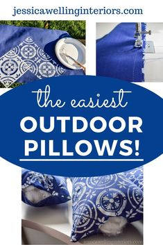 Make your own unique outdoor throw pillows with this easy step-by-step tutorial! They're perfect for patios, porches, and outdoor living rooms!