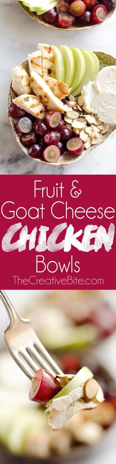 Fruit & Goat Cheese Chicken Bowls are an easy 5 ingredient recipe for a healthy dinner loaded with sweet and savory flavors. Tender chicken breasts are paired with juicy grapes, apples, almonds and creamy honey goat cheese for an amazingly simple and protein packed meal ready in only 15 minutes! #Chicken #GoatCheese #Healthy #Dinner