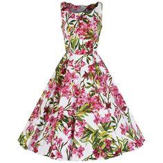 White Pink Sleeveless Floral Rockabilly Dress