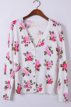 Floral Print Button-up Cardigan