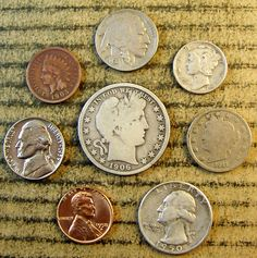 #coins Mix LOT of 8 OLD U.S. Type Coin Collection with some 90% Silver *1047 please retweet