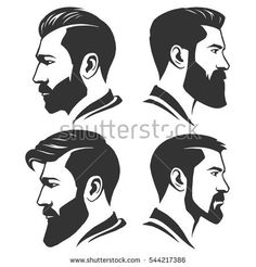 <img> Man with beard variations silhouette - Beard Styles For Men, Hair And Beard Styles, Hair Styles, Mens Hairstyles With Beard, Trendy Hairstyles, Cool Haircuts, Haircuts For Men, Beard Images, Beard Art