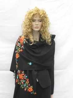 SHAWLS- CASHMERE PASHMINA WRAP WITH CREWEL EMBROIDERY Cashmere Pashmina Group. $99.00