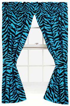 Blue Zebra Print Designer Window Curtains