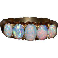 Antique Victorian 18 Carat Gold Opal Half Hoop Ring www.rubylane.com #vintagebeginshere
