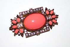Elizabeth Taylor For Avon Coral Sea Collection Brooch Pin Faux Coral in Gold Plated Setting
