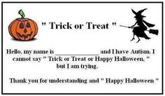 Autism Trick or Treat card