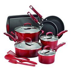 Rachael Ray 14-Piece Hard Enamel Nonstick Kitchen Cookware Set RED ,FAST SHIP in Home & Garden, Kitchen, Dining & Bar, Cookware | eBay