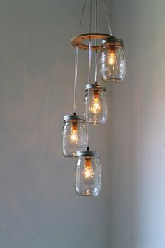Summer Breezes Spiral Cascading Mason Jar Chandelier Swag Style Hanging Pendant Lighting Fixture - Rustic Wedding BootsNGus Lamp Design
