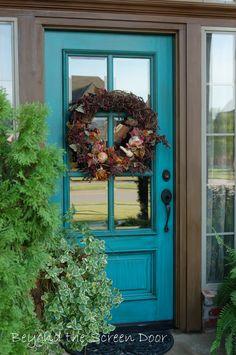 fall wreath on turquoise door | Beyond the Screen Door