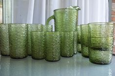 Vintage Anchor Hocking Green Sorano Glassware Set with 18 Glasses and Pitcher. $60.00, via Etsy.