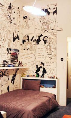 30 Ideen für Kinderzimmergestaltung - kinderzimmer comicalben  gestalten ideen deko wand helden märchen
