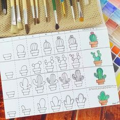 Visual Tutorial on Cactus doodles for your bullet journal! Doodle Drawings, Easy Drawings, Doodle Art, Bullet Journal Décoration, Decoration Cactus, Cactus Drawing, Watercolor Cactus, Cactus Painting, Bullet Journal Inspiration