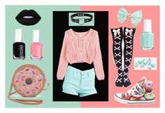 """""""Donuts!"""" by cjmax on Polyvore featuring Refuge, Lime Crime, Essie, Converse and Patricia Chang"""