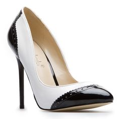 White/Black Colorblock Pointed Toe Pumps - $40.00