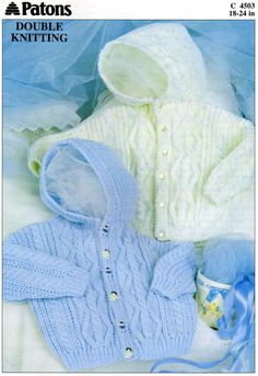 Patons Double Knitting Hooded Cable Baby Jacket Cute baby button up cardigan with hood and gorgeous cable stitch. Great for the intermediate knitter. Pattern More Knitting Patterns Like This Baby Cardigan Knitting Pattern Free, Double Knitting Patterns, Free Knitting, Vogue Knitting, Hoodie Pattern, Jacket Pattern, Knitting Needles, Baby Boy Cardigan, Cardigan Bebe