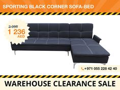 The Sporting corner sofa-bed goes from contemporary sofa to comfortable bed with one quick motion. This sofa-bed has such modern details and elements like white stitching on the back and seats cushions and metal legs. The black color of the polyester fabric upholstery allows You to accent with different fun patterns on pillows and different pieces throughout the room. Local pickup only! For more details, contact: +971 55 228 4240
