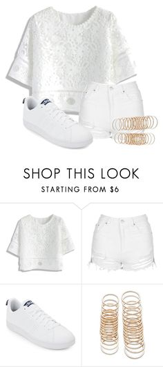 """White"" by ceeceegrant ❤ liked on Polyvore featuring Chicwish, Topshop, adidas and Forever 21"
