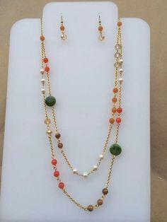 Collar cristales perlas y piedra