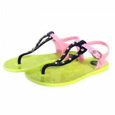 Sandalias tipo chanclas de dedo piscina Gioseppo poniente en verde, fucsia y pistacho